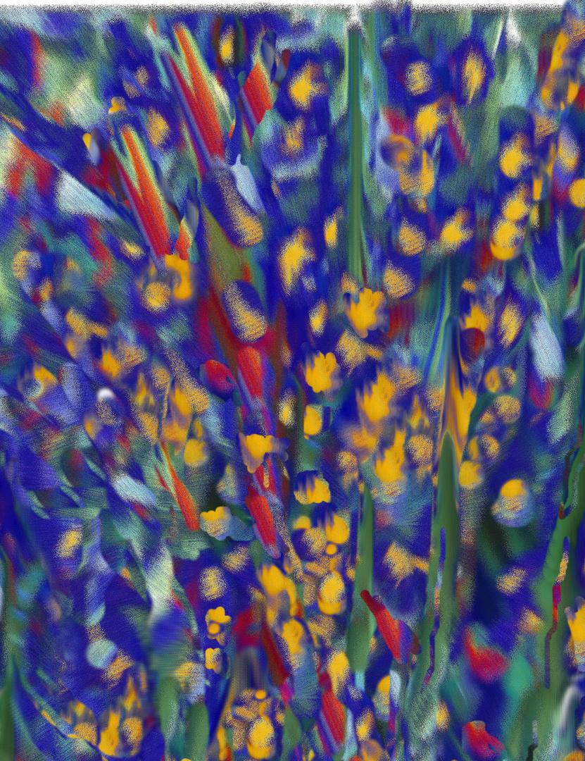 Lilien auf Blau