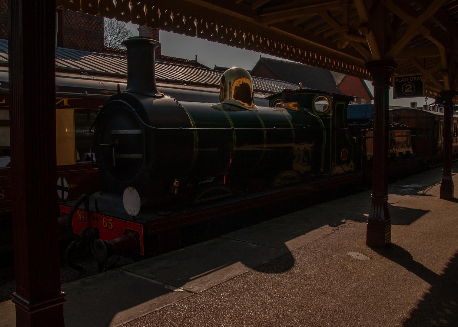 Locomotive in Strong Summer Sunlight.