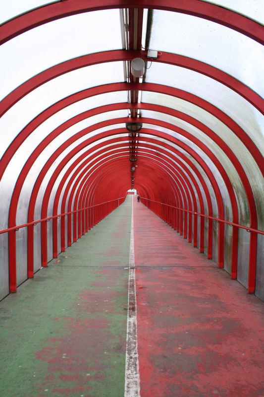 Long Red And Green Tunnel