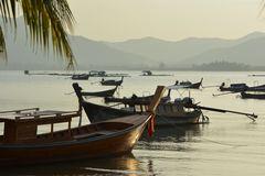 Longtail-Boote im Abendlicht