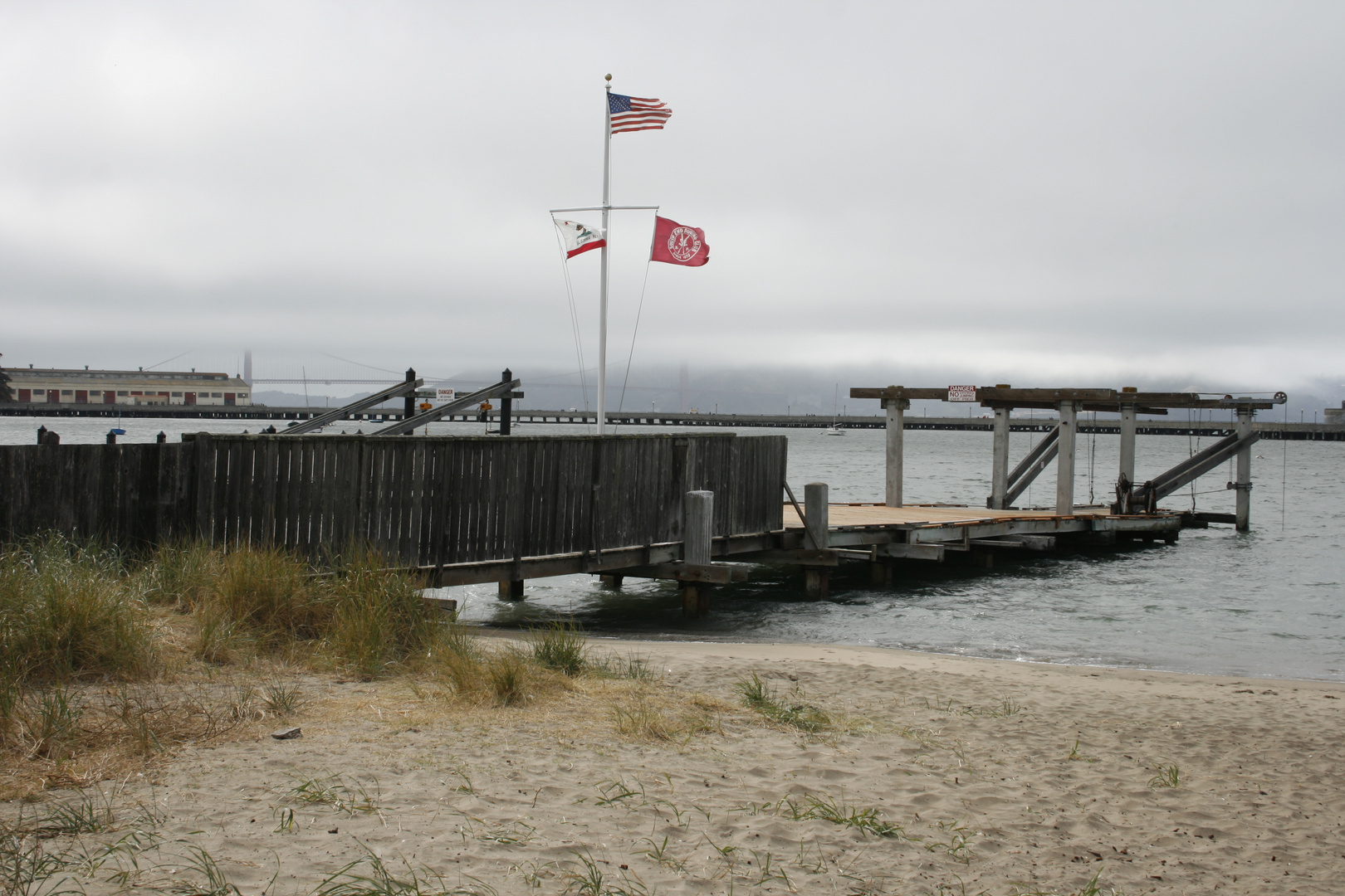 Looking from Fisherman's wharf to the GGB during a misty morning
