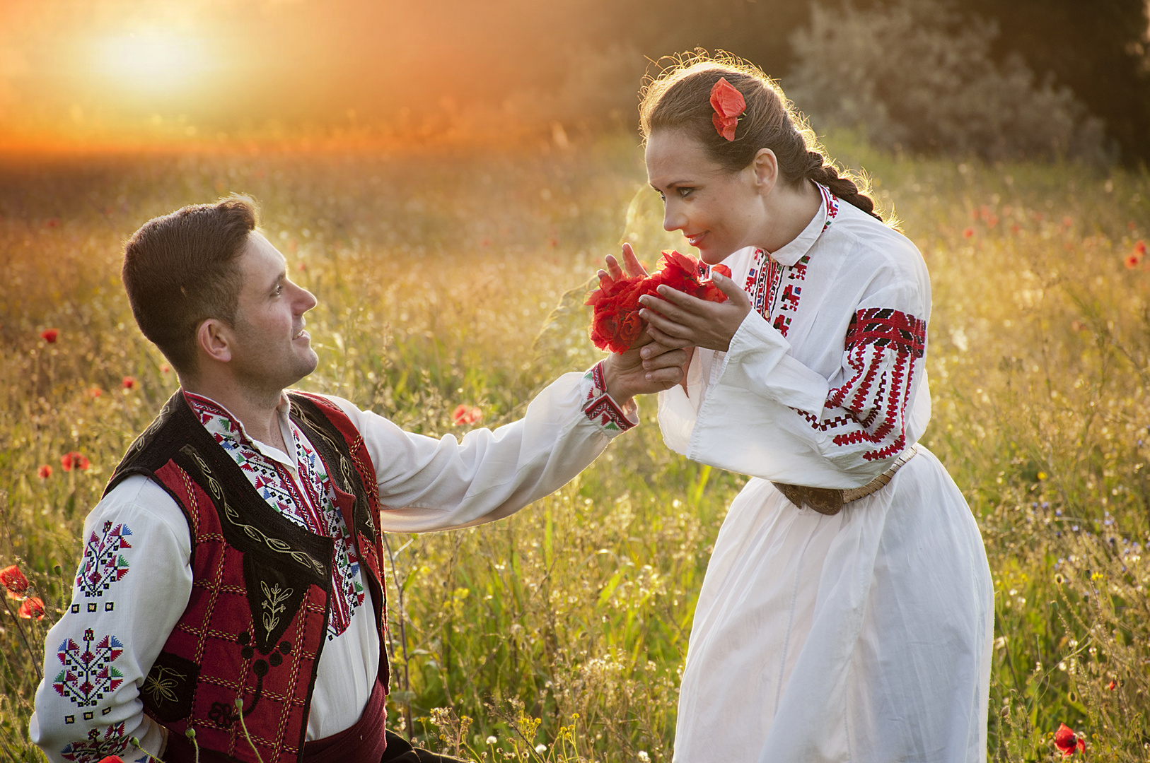 Love in poppy field