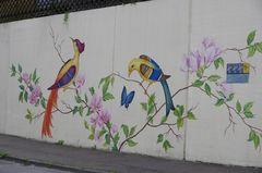 Ludwigsburger Porzelanmalerei auf einer Mauer