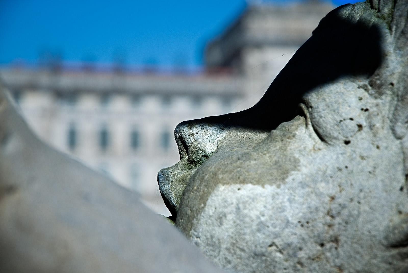 Ludwigslust 2: Gesicht einer Steinfigur mit dem Schloß im Hintergrund