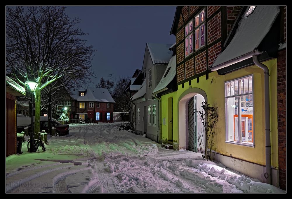 Lüneburg im Schnee - Neue Strasse