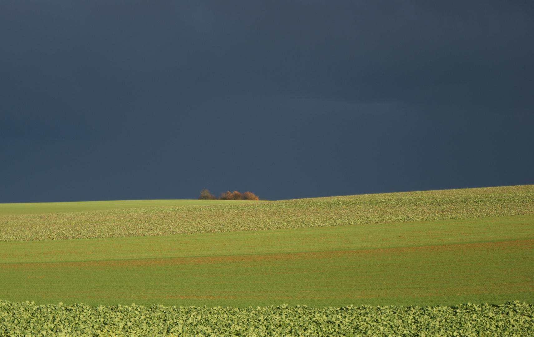 Lumière sur les champs et sombre dans le ciel