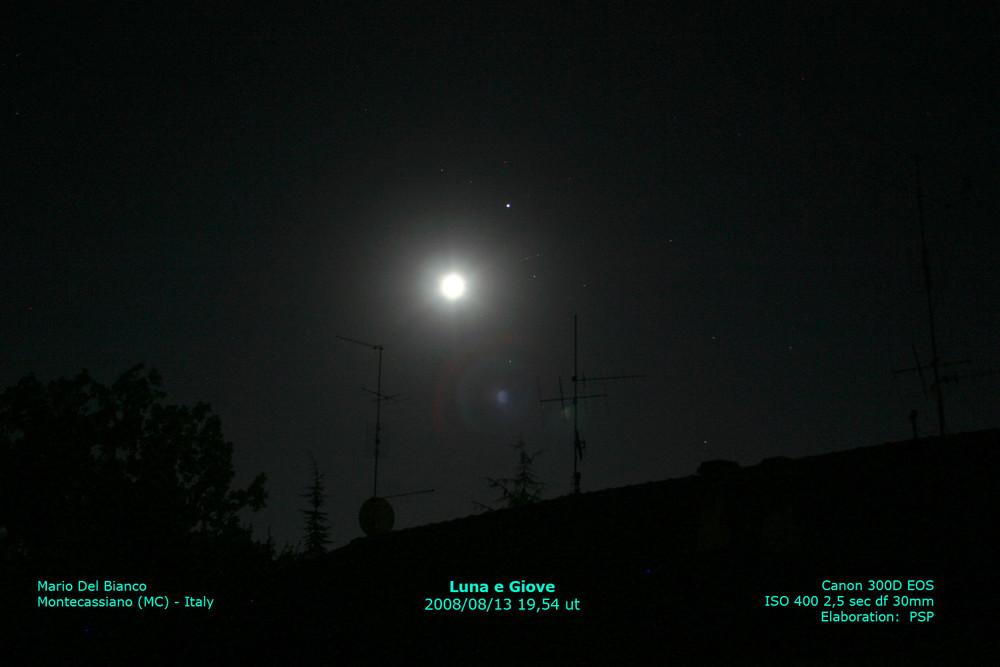 Luna e giove insieme