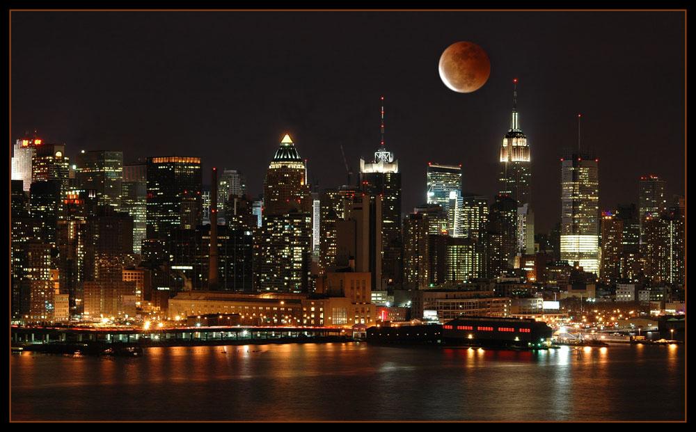 Lunar Eclipse over Manhattan