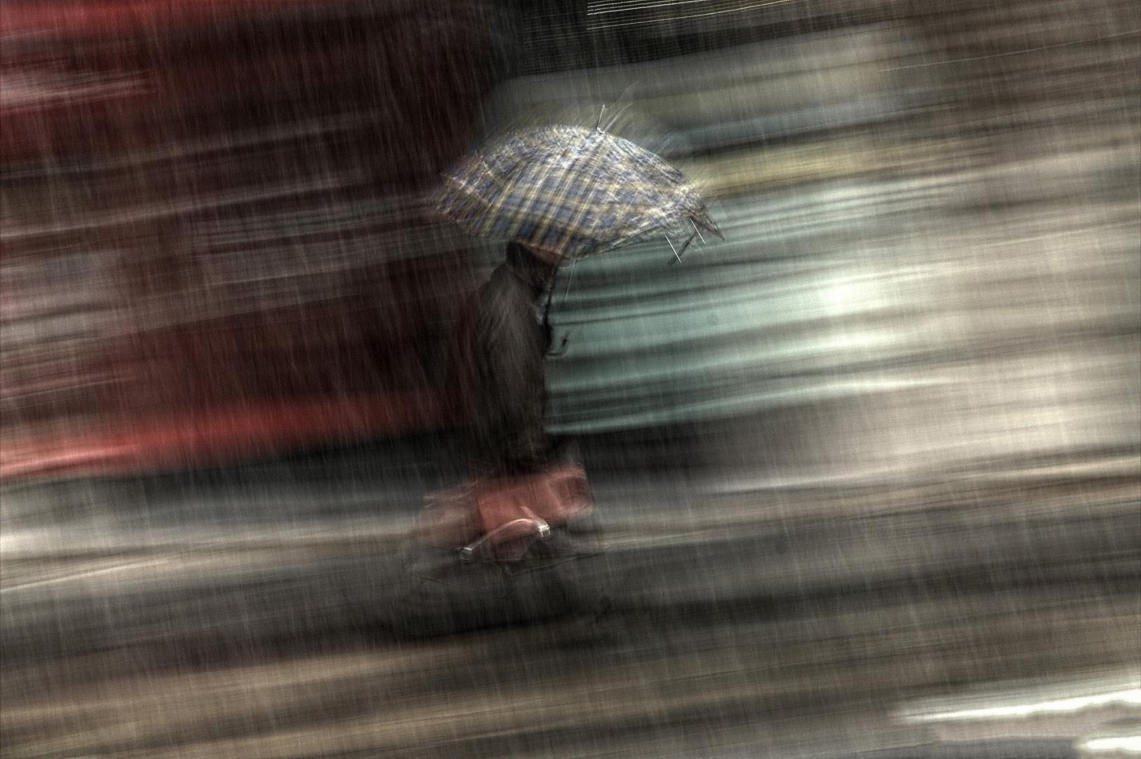 l'uomo con la borsa e l'ombrello