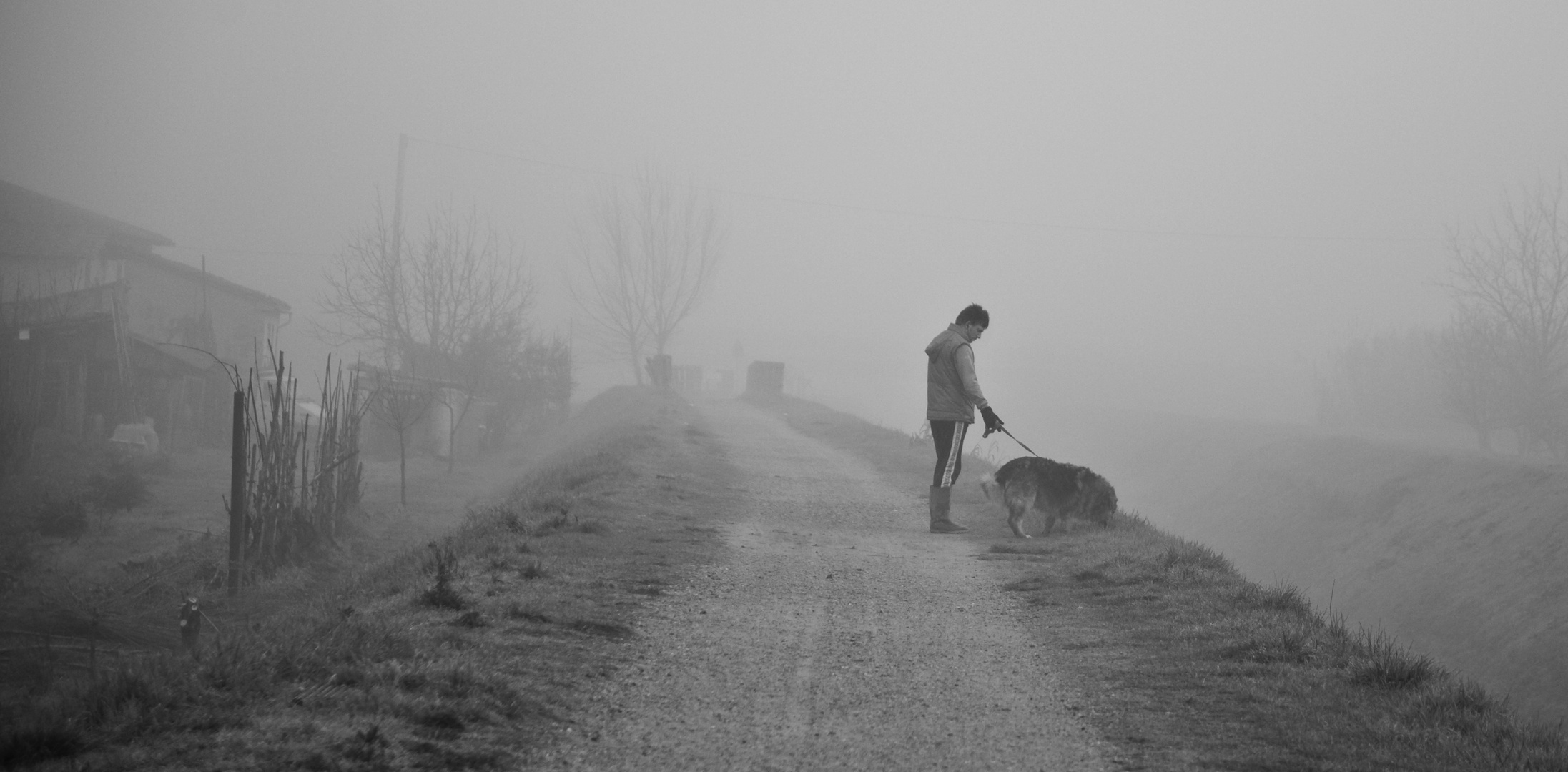l'uomo e il suo cane...in un giorno di nebbia