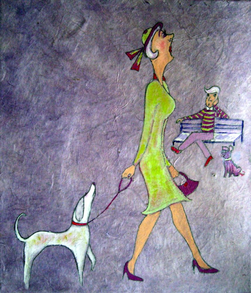 madamoiselle  promène son chien