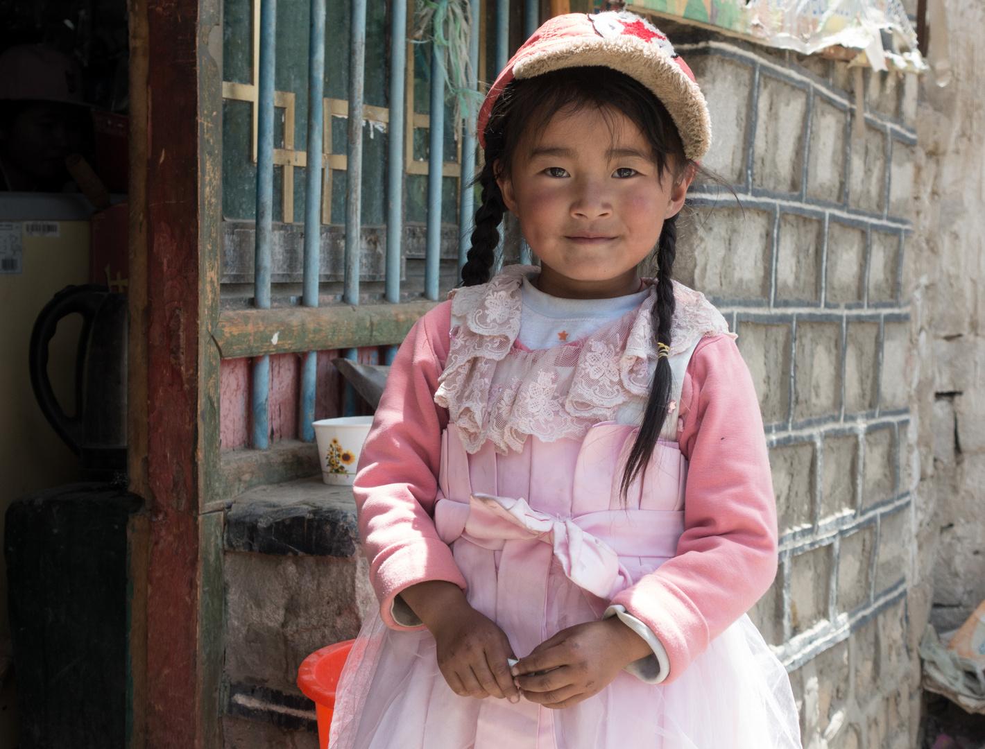 Mädchen in Tashi Dzom, Everest-Gebiet, Tibet