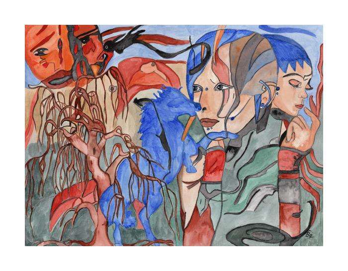 Mädchen mit blauem Pferd