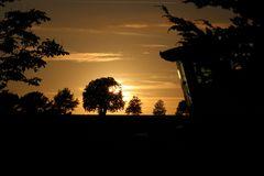 Mähdrescher im Sonnenuntergang