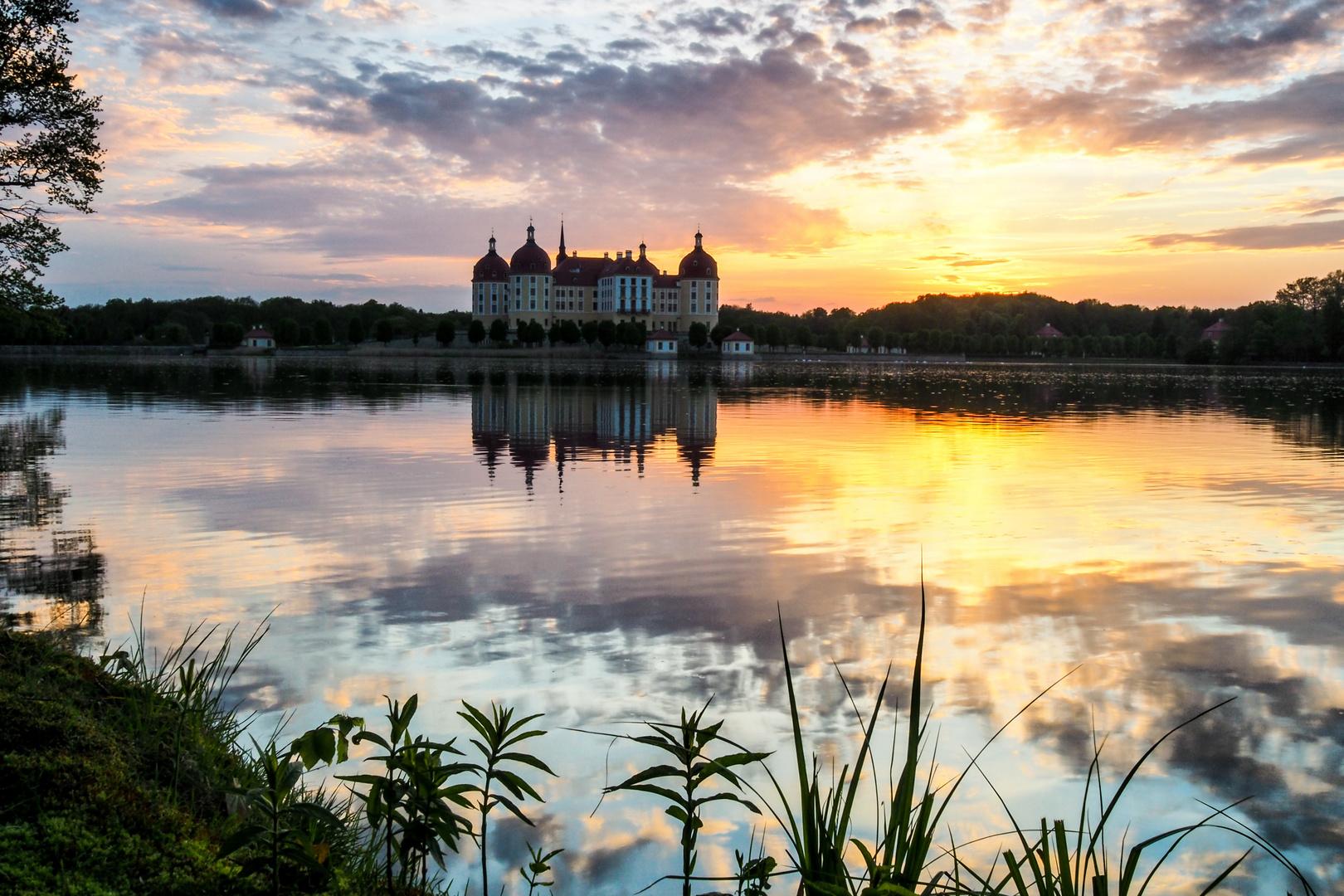 Märchenschloss Moritzburg im Abendlicht