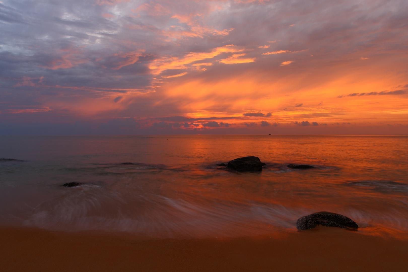 magic sunset on Khaolak beach