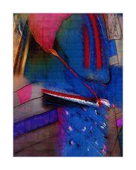 Maler mit rotem Pinsel