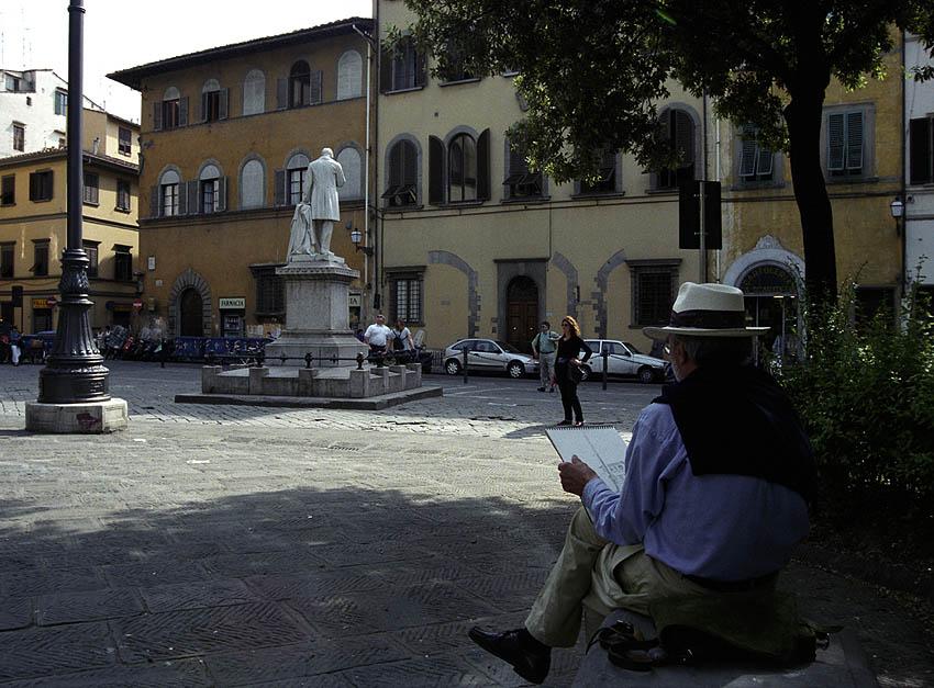 Maler und Statue