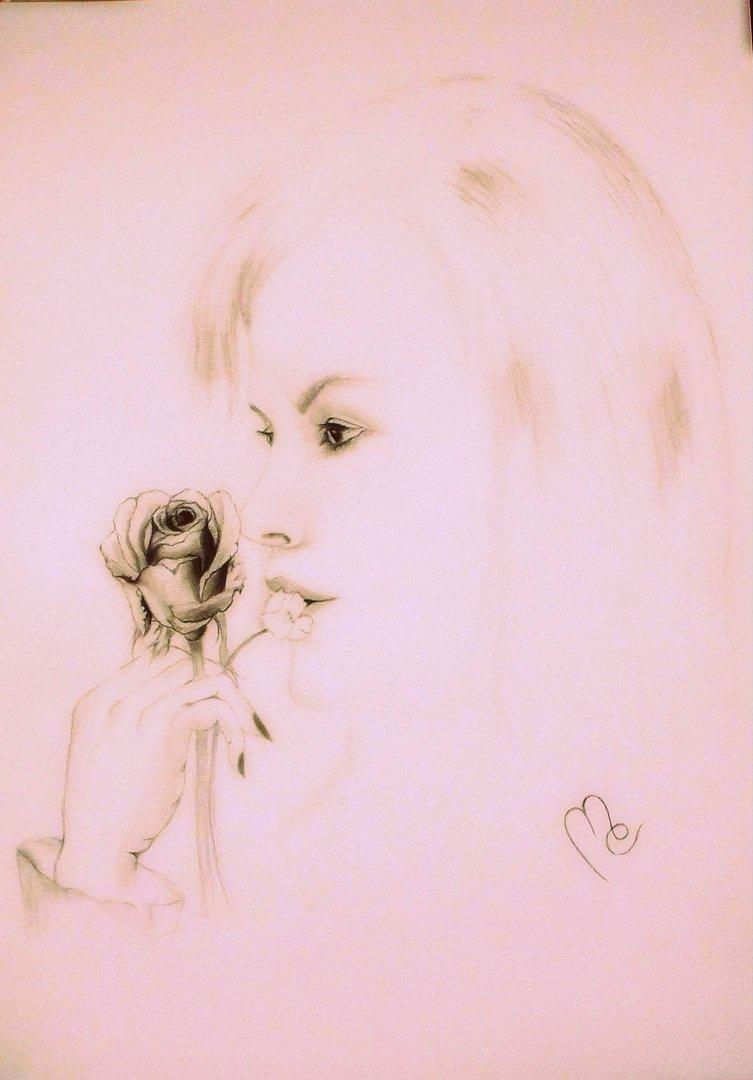 Malerei - Zeichnung: Tittel: Die Unbekannte