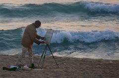 Malerin morgens 6.30 Uhr am schwarzen Meer