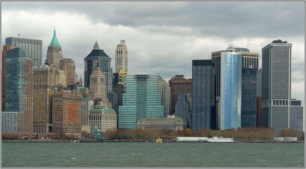 Manhattan vom Boot auf the river Hudson.