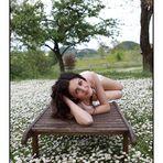 Manuela on carpet of marguerites