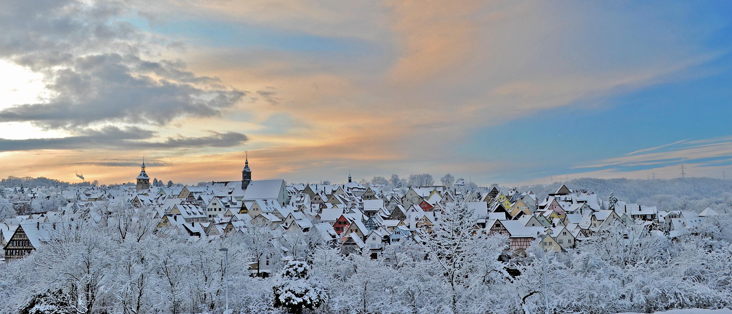 Marbach am Neckar bei Schnee und Sonnenschein ...