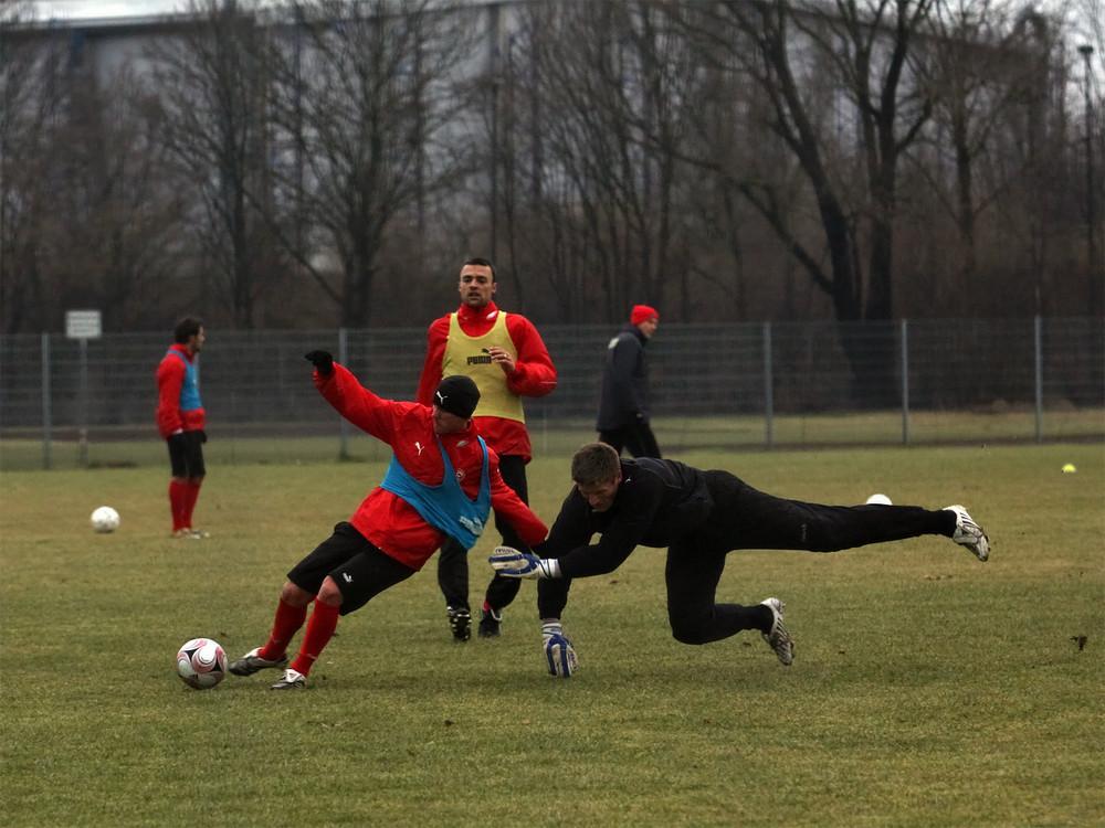 Marco Christ und Michael Melka wärend des Trainings im Sportpart der düsseldorfer LTU Arena