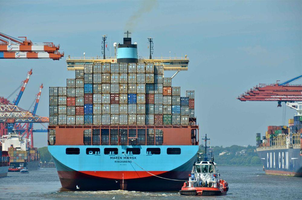 Maren Maersk nimmt Kurs Nordsee