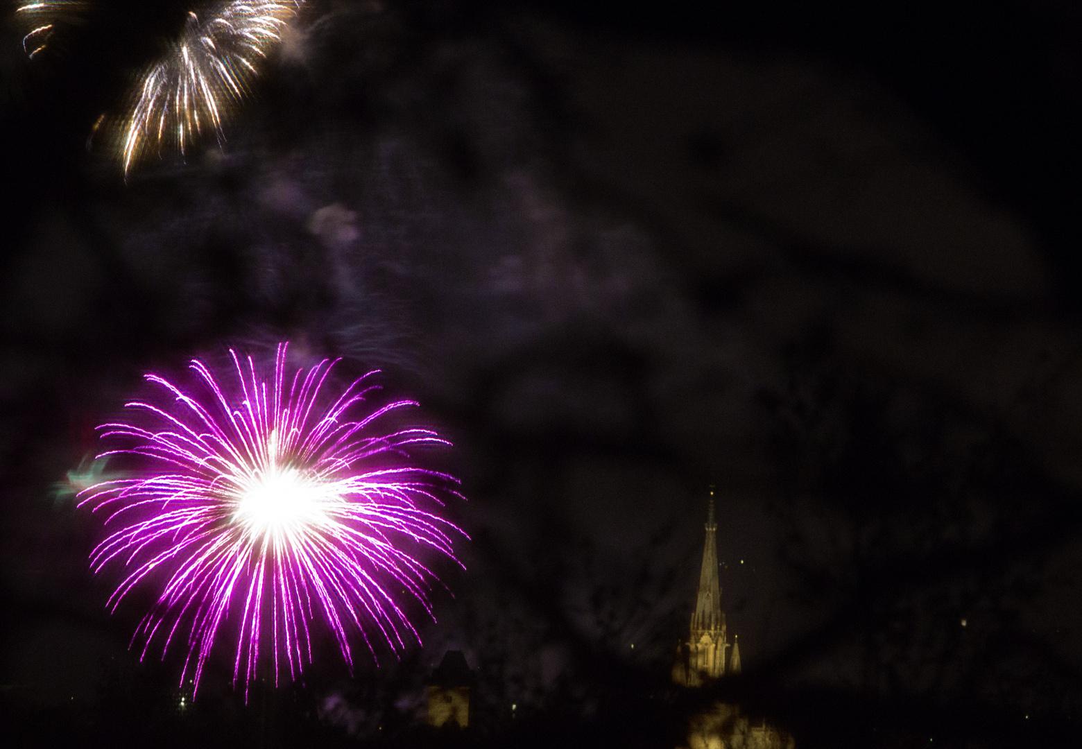 Marienkirche mit Feuerwerk