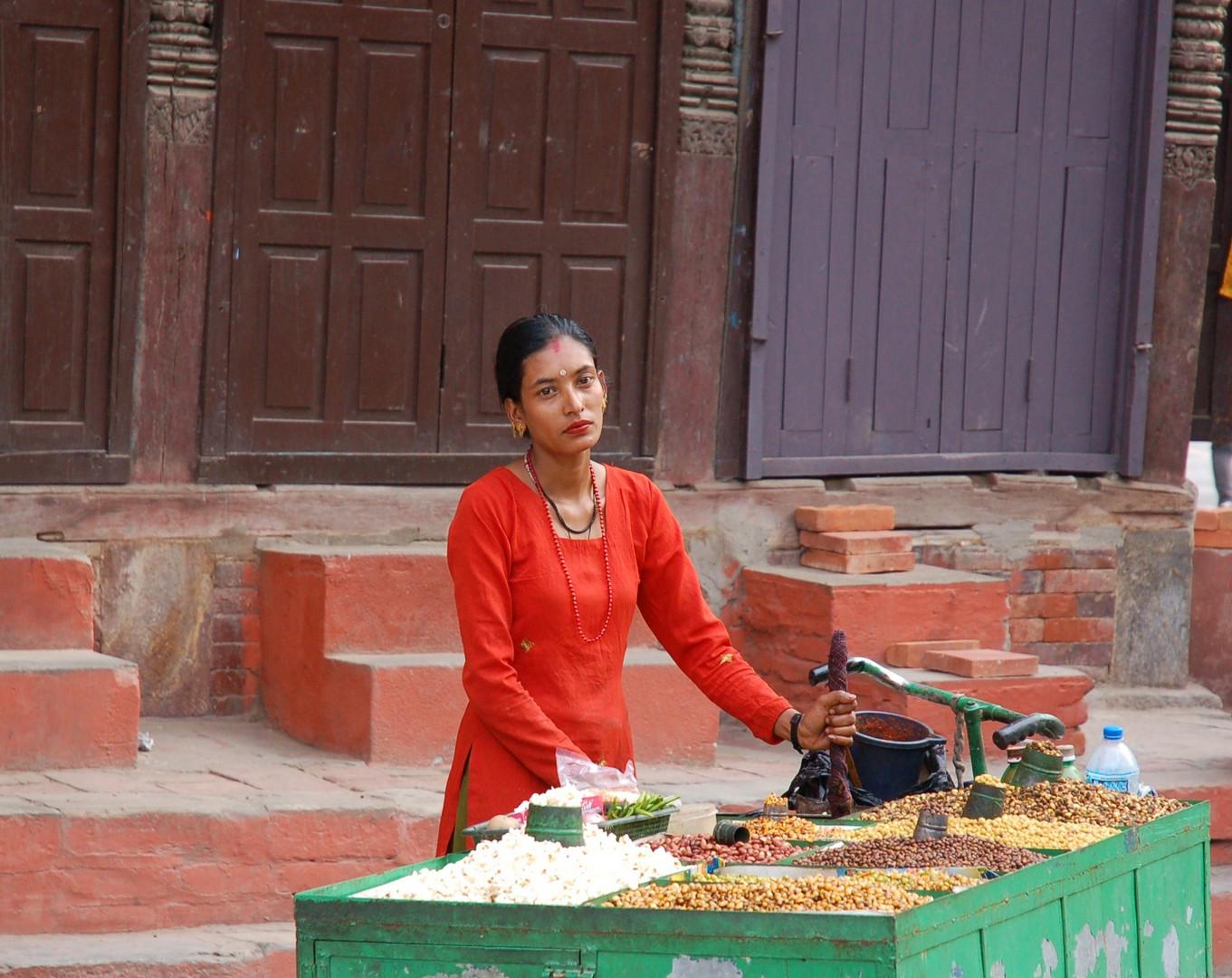 Marktfrau in Kathmandu