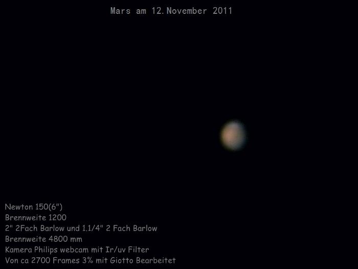 Mars am Morgen des 12.November 2011