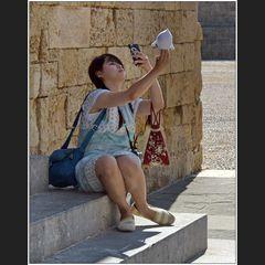 Maskottchen-Selfie
