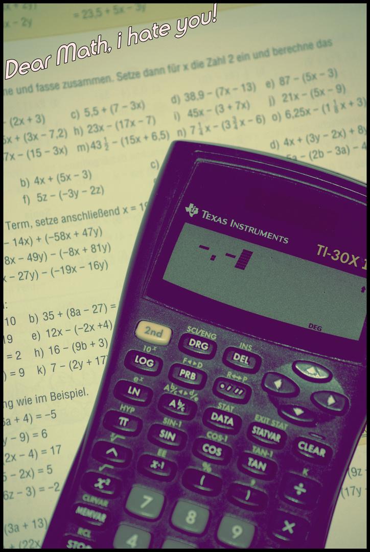 Mathe , ich hasse dich