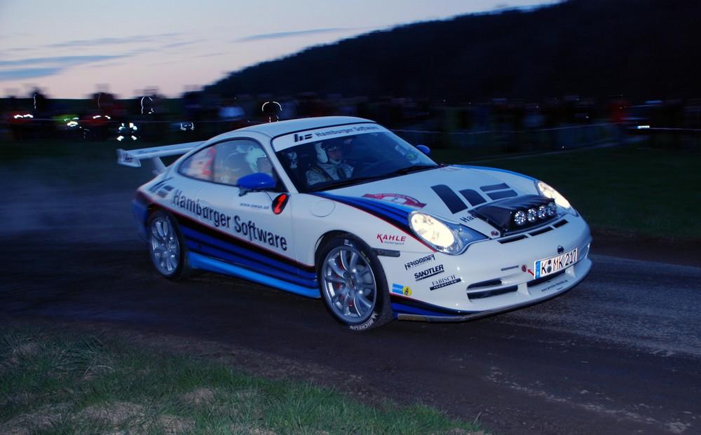 Matthias Kahle auf WP 1 am Freitag Abend bei der Vogelsberg Rallye