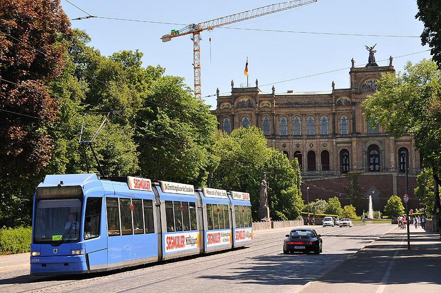 Maximiliansbrücke Blick auf den Bayerischen Landtag
