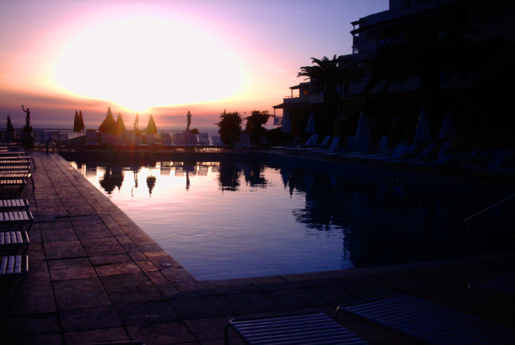 Mediterranean Sunset by the Pool