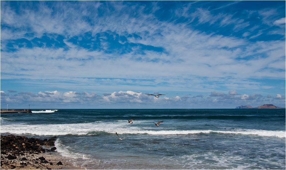 Meer, Möwen und Himmel