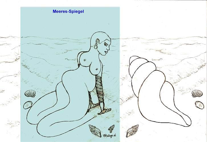 Meeres-Spiegel mit Traum-Frau