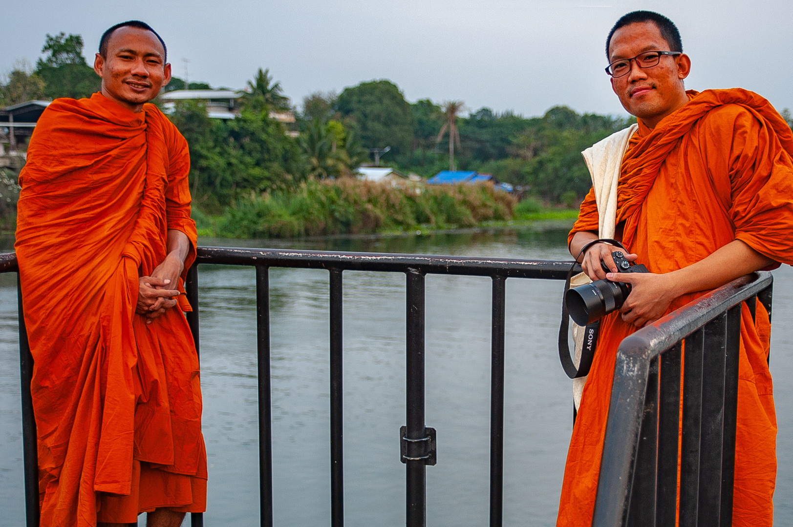 Meeting monks for photo shooting