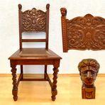 Mein antiker Esszimmerstuhl mit handgeschnitztem Gestell ....