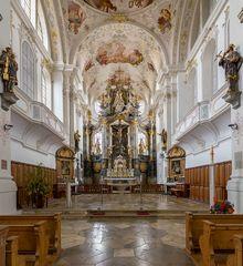 """Mein Blick""""zum Chor"""" in der Stadtpfarrkirche St. Martin (Marktoberdorf)"""