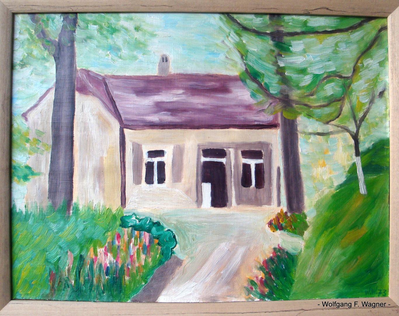 - Mein Geburtshaus in Erlangen - Mittelfranken - auch Nordbayern genannt - 1963 - gemalt 1973 -