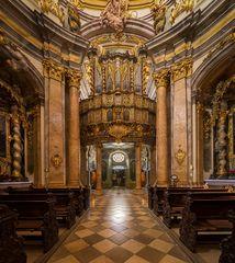 """Mein""""Blick zur Brandenstein-Orgel""""in der Asamkirche St. Georg ( Weltenburg )"""