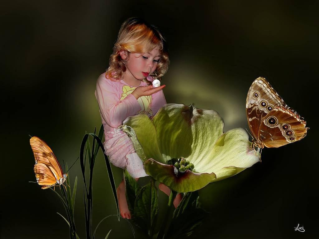 Meine Nichte und die Schmetterlinge.