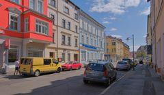 Meiningen, schöne bunte Häuser (Meiningen, casas hermosas coloridas)