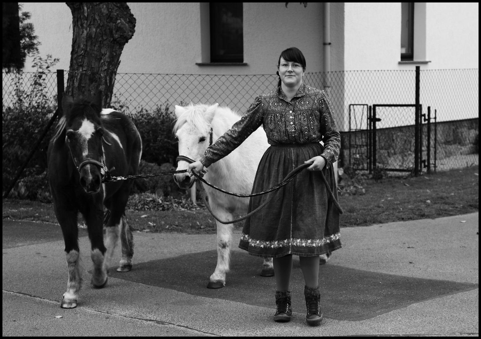 Melli bringt die Pferde heim...