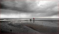 Mensch und Hund am Meer