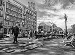 Mercado de antigüedades (La Rambla de Tarragona) Versión B&N