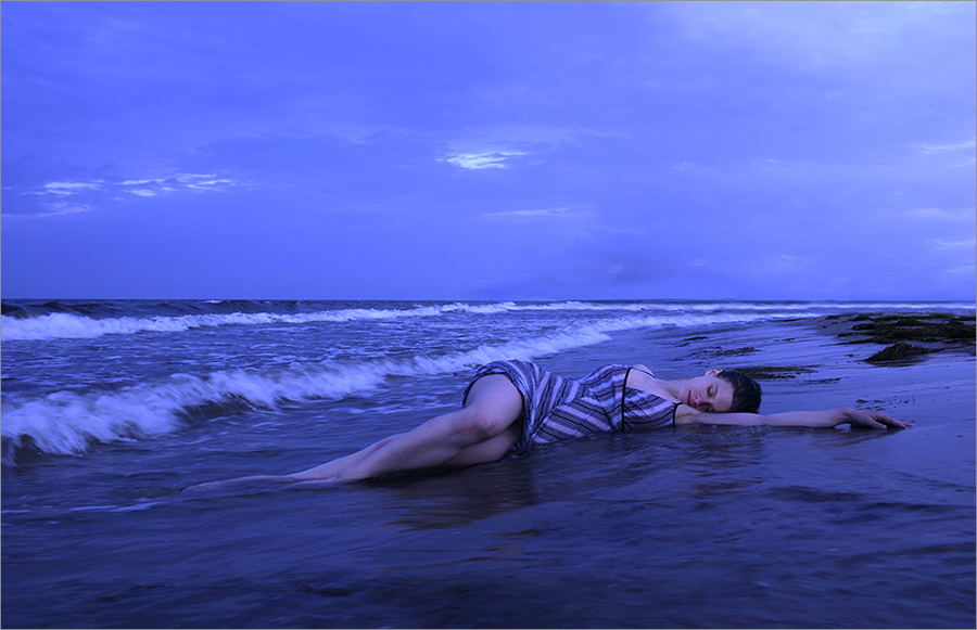 merged with the deep blue sea